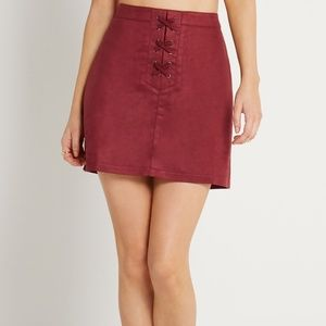 BCBGeneration Faux-Suede Lace-Up A-Line Skirt